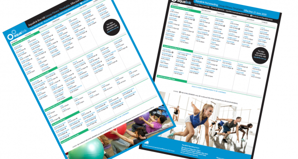 Aqualink Group Fitness Timetable July 2020